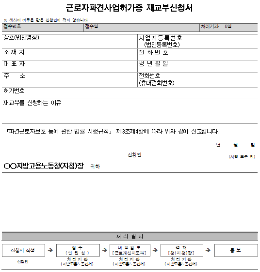 서식5_근로자파견사업허가증 재교부신청서.png